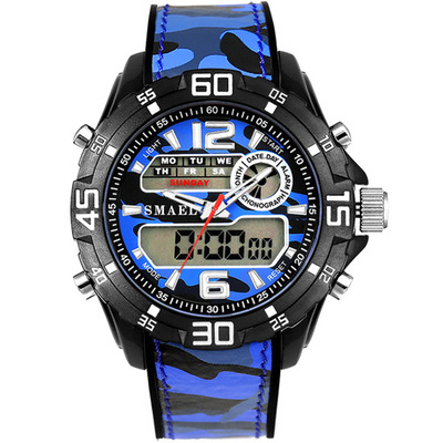 아재몰 디지털 손목시계_SMAEL 1077 Dual Display Digital Watch Men Luminous Alarm Sport Watch Camouflage Military Style Watch