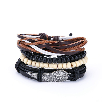아재몰 아재 팔찌_Punk Men Multilayer Leather Bracelets Vintage Braided Woven Wing Charm Black White Beads Bracelet