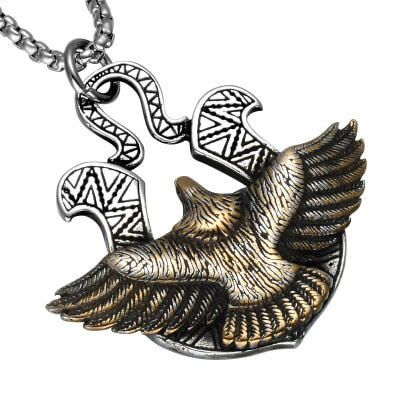아재몰 아재 목걸이_316L Stainless Steel Eagle Pendant Chain Never Fade Punk Necklace for Men
