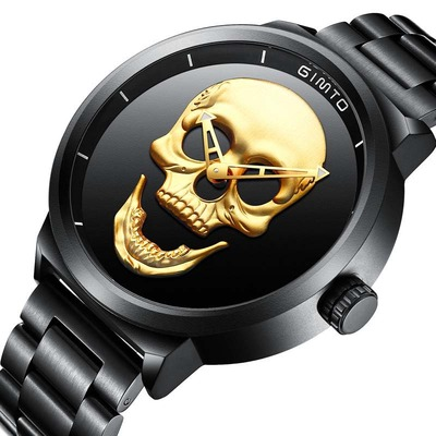 아재몰 아재 일반 손목시계_GIMTO GM244 Men Watch Skull Pattern Steel Watch Band Male Quartz Wrist Watch