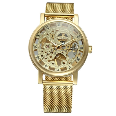 아재몰 기계식 손목시계_W036 Fashionable Men Wrist Watch Skeleton Transparent Hand Wind Mechanical Watches
