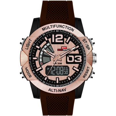 아재몰 디지털 손목시계_KAT-WACH KT718 Dual Display Digital Watch Chronograph Waterproof Silicone Strap Men Sport Watch
