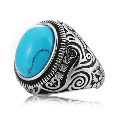 아재몰 아재 반지_REZEX Vintage Pattern Blue Black Turquoise Finger Rings Gem Titanium Steel Mens Ring