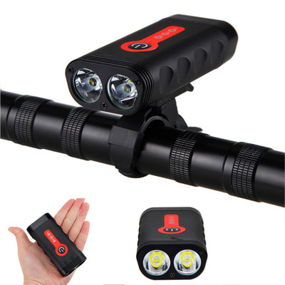 아재몰 자전거 헤드라이트 조명_XANES DL07 1800LM 2*L2 4400mAh Rechargeable Battery Indicator Bike Light