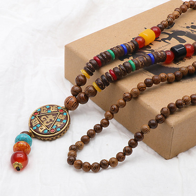 아재몰 아재 목걸이_Vintage Wood Beaded Pendant Necklace Ethnic Prayer Beads Long Charm Unisex Necklaces
