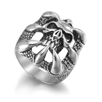 아재몰 아재 반지_Halloween Punk Magic Dragon Ring Eight Claw Skeleton Gift Ring for Men