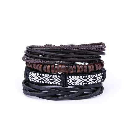 아재몰 아재 팔찌_Vintage Mens Multilayer Leather Bracelets Boho Geometric Pattern Rock Wood Bead Bracelet for Men