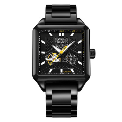 아재몰 기계식 손목시계_OUBAOER OB2003A Square Automatic Mechanical Watch Stainless Steel Business Style Men Watches
