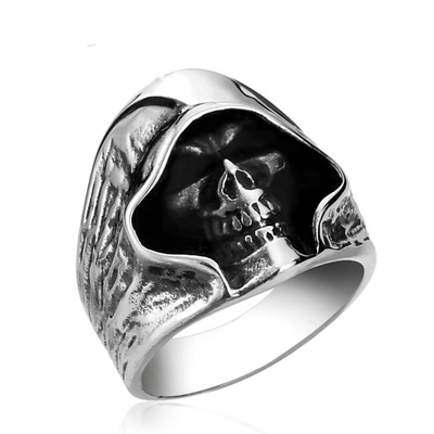 아재몰 아재 반지_Mens Gothic Biker Ring Grim Reaper Skull Stainless Steel Punk Ring Gift for Men