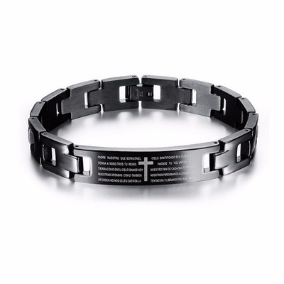 아재몰 아재 팔찌_Cross Bible Black Titanium Men Magnet Bracelet Healing Jewelry Men Gift