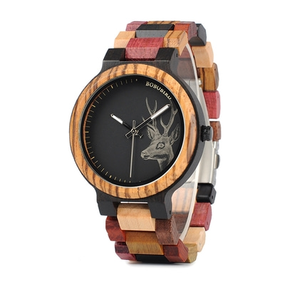 아재몰 디자인 손목시계_BOBO BIRD W*P14-2 Elk Deer Head Quartz Watches Colorful Band  Men Wooden Wrist Watch