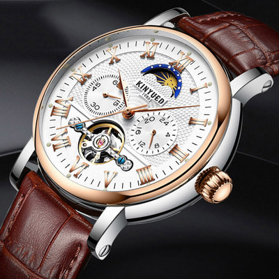 아재몰 기계식 손목시계_KINYUED JYD-J029 Moon Phase Automatic Mechanical Watch Leather Strap Men Wrist Watch