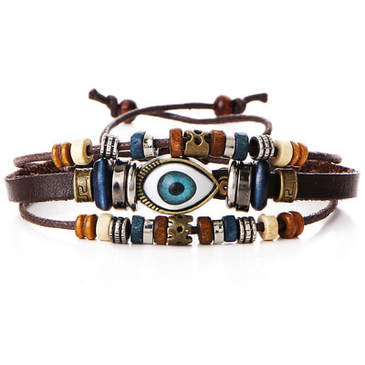 아재몰 아재 팔찌_Multilayer Beaded Bracelet Eyeball Hand Woven Artificial Leather Bracelet for Women Men