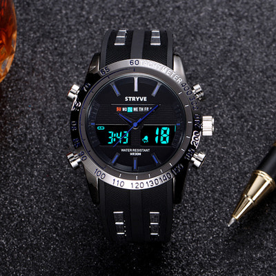 아재몰 디지털 손목시계_STRYVE S8005 Dual Display Digital Watch Fashion Chronograph Luminous Stopwatch Outdoor Watch