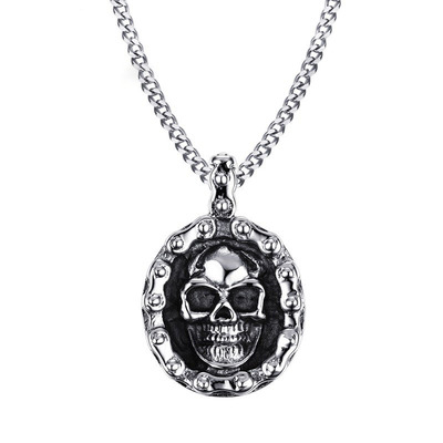 아재몰 아재 목걸이_Trendy Mens Stainless Steel Charm Necklace Punk Skull Pendant Chain Gift for Men