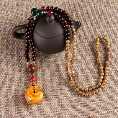 아재몰 아재 목걸이_Ethnic Vintage Gourd Beeswax Turquoise Necklace Beaded Charm Necklace for Men Women