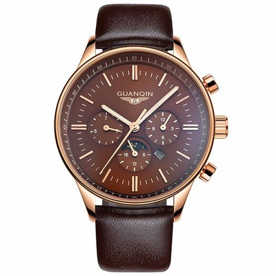 아재몰 아재 일반 손목시계_GUANQIN 12003 100M Waterproof 24 Hours Moon Phase Date Week Month Dial Luminous Men Quartz Watch