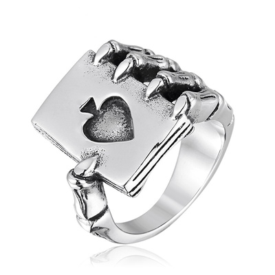 아재몰 아재 반지_Gothic Spades Claw Stainless Steel Mens Ring Punk Rocker Finger Ring Gift