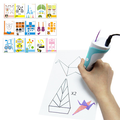 아재몰_(1396415)_3D 프린터 재료_15PCS 3D Printing Pen Double-sided Papers + Transparent Template Copy Graffiti Board Suit for Kids