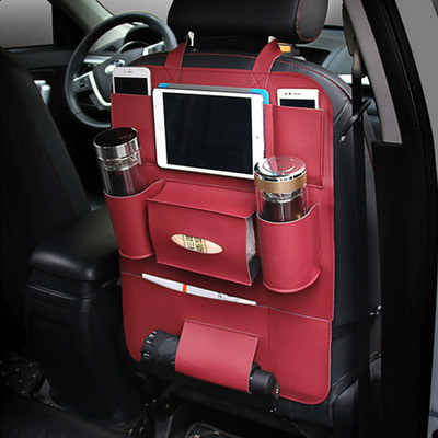 아재몰_차량용품 가죽 시트 뒷좌석 컵홀더 보관_Multi-functional PU Leather Car Back Seat Storage Bag Multi Pocket Phone Cup Holder Organizer