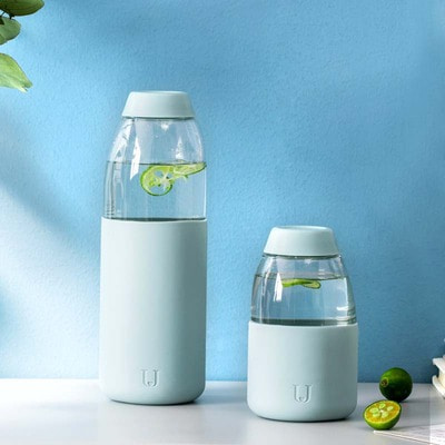 아재몰_컵 물컵 물병 캠핑 휴대용컵_Xiaomi Jordan&judy 260/560ml Porable Water Bottle Tritan Anti-scalding Drinkware  Fruit Tea Cup With Silicone Case