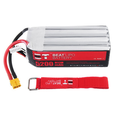아재몰 RC드론 배터리 BT BEAT 22.2V 5200mAh 35C 6S Lipo Battery XT60 Plug With Battery Strap for RC Racing Drone