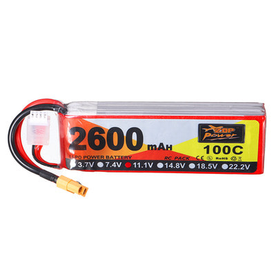 아재몰 RC드론 배터리 ZOP Power 11.1V 2600mAh 100C 3S lipo battery XT60 Plug for RC Racing Drone