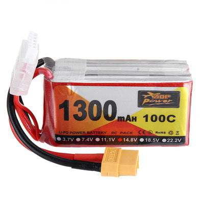 아재몰 RC드론 배터리 ZOP Power 14.8V 1300mAh 100C 4S Lipo Battery XT60 Plug for RC Racing Drone