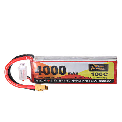아재몰 RC드론 배터리 ZOP Power 7.4V 4000mAh 100C 2S Lipo Battery XT60 Plug for RC Racing Drone