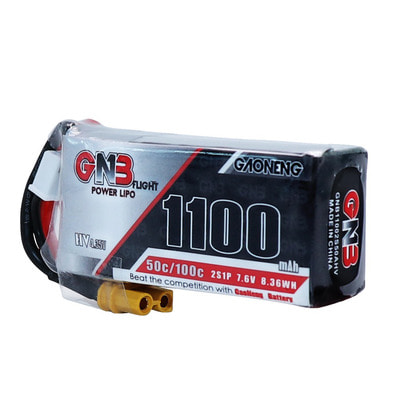 아재몰 RC드론 배터리 Gaoneng GNB 7.6V 1100mAh 50C 2S Lipo Battery XT30 Plug for RC Racing Drone