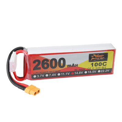 아재몰 RC드론 배터리 ZOP Power 14.8V 2600mAh 100C 4S Lipo Battery XT60 Plug for RC Racing Drone