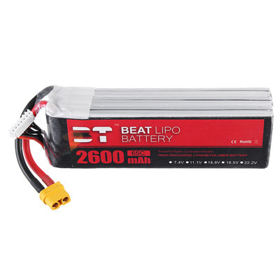아재몰 RC드론 배터리 BT BEAT 22.2V 2600mAh 65C 6S Lipo Battery XT60 Plug for RC Racing Drone