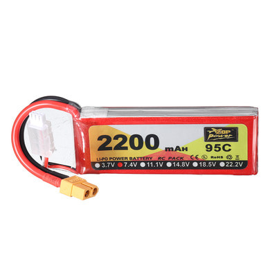 아재몰 RC드론 배터리 ZOP Power 7.4V 2200mAh 95C 2S Lipo Battery XT60 Plug for RC Racing Drone